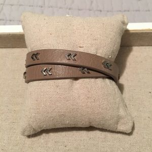 Stella & Dot Chevron Leather Wrap Bracelet